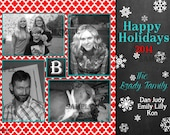 Christmas Card, Holiday Photo Card, red moroccan ogee design with blue and black chalkboard snowflake accent Happy Holidays