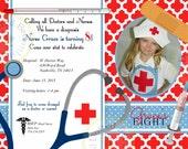 Nurse Doctor Invitation Photo Birthday Party Printable red, blue quatrefoil moroccan design