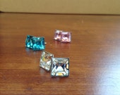 Swarovski square crystal earrings, 8mm stainless steel studs - Clear