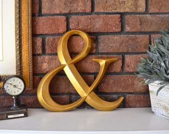 "Gold Ampersand wall art decor wood initial prismatic 12"" Large"