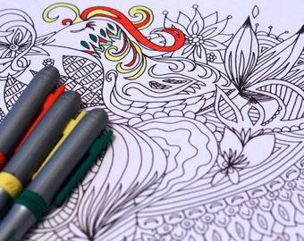 Adult Coloring Page Printable Kids Bird Desgin Doodle Pattern Original Art Instant pdf Digital Download