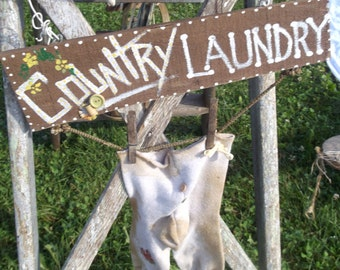 Country Laundry, upcycled from socks, barnboard - great for laundry or bathroom