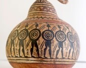 Handpainted Gourd, Greek Warriors, Gourd Art