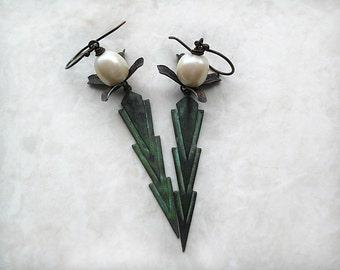 Art Deco Earrings, Arrow Earrings, Patina, Brass Earrings, Beaded, Beadwork, Dangle, Green Earrings, Pearl, Long, Lightweight