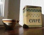 Cafe Tin, Coffee Container,  metal Kitchenalia, breakfast bar, blue shabby chic, antique home decor,  kitchen art, rustic metal tin