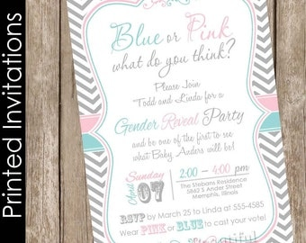 Printed Pastel Gender Reveal baby shower invitation, chevron invitation, pink and blue baby shower invitation, typography, (FREE ENVELOPES)