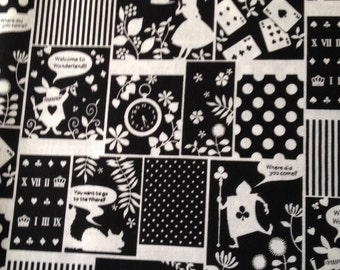 Alice in wonderland fabric black and white color one yard Xmas and New Year sale