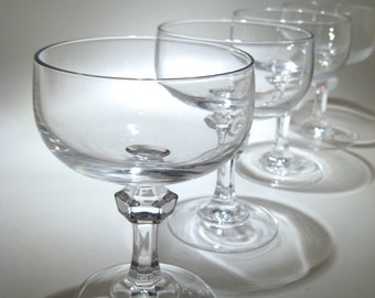 4 Crystal Champagne Coupes with Decorative Stems