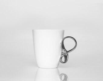 MOBIUS cup porcelain mug, white and silver china mug for coffee or tea handmade by ENDE ceramics