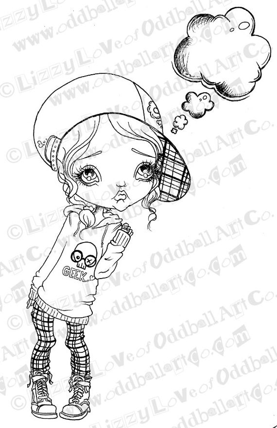 INSTANT DOWNLOAD Digi Stamp Big Eye Girl  Eve Has Something To Say Image No. 127 by Lizzy Love