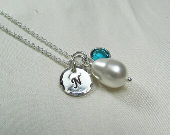 Bridesmaid Jewelry Pearl Initial Necklace Birthstone Monogram Necklace Silver Bridesmaid Necklace Personalized Bridesmaids Gifts