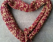 "Handknit Scarf, Red and Yellow, ""Ketchup and Mustard"" Twisted and Garter Stitch, Cotton, Chenille and Acrylic - Thick, Fall and Winter Wear"