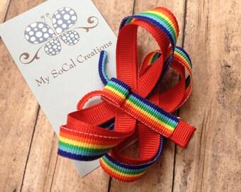 Bright Rainbow Butterfly-Ribbon Sculpture Hair Clip-No Slip