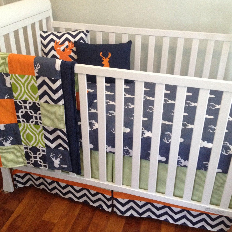 crib bedding baby bedding boy crib set navy and orange