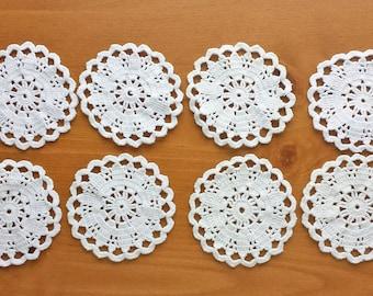 Small White Crochet Doilies, Vintage Crochet Doilies, Set of 8