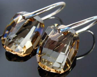 Swarovski Crystal Golden Shadow Sterling Silver Earrings