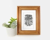Vintage Camera Printable Art Poster in Dark Grey and White - Last Minute Gift - Wall Decor - 8x10 Digital Download