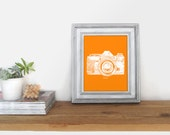 Vintage Camera Art Print, Poster, Wall Decor, Smile Quote in Orange and White / Photographer Gift / 8x10 Digital Instant Download