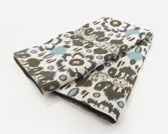 Modern baby throw blanket | Neutral gender nursery decor | Ikat floral in aqua blue, gray and ecru | Toddler and children
