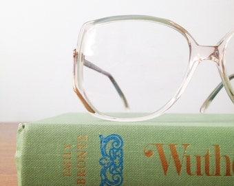 Vintage Mint Jade Seafoam Green Oversized Eyeglass Frames, Valdottica 53/15, 135