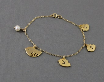 Gold Bird Bracelet - Personalized Family Bracelet, Initial Bracelet, Mama and Baby Bird Charms Mother Gift Grandma Family Initials Children