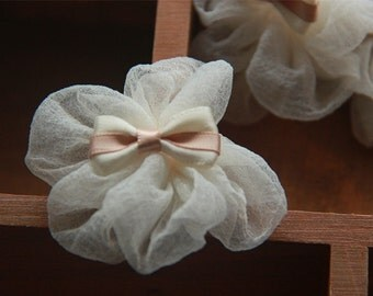 Champagne Tulle Flower With Ribbon Bow 2.36 Inches Wide For Costume Headware Corsage Supplies 3pcs