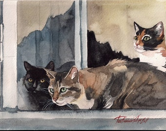 Print of the Original Watercolor Painting Tabby Cat Black Cat Tuxedo Cat Cat's Company