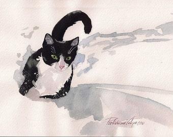 Print of Watercolor Painting Tuxedo Cat Black and White Cat Kitty Kitten By Yuliya Podlinnova