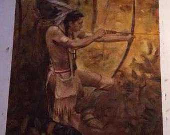 24*30 inch American Indian hunter in the forest on stretched canvas