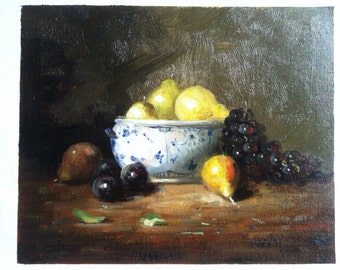 8X10 inch Original oil painting sweet fruits in a bowl on streched Canvas shipping free