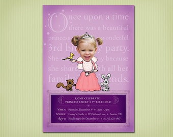 digital princess birthday party invite