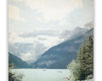 Lake Louise Photography, Rocky Mountain photography, majestic mountain lake, mint decor, Canadian rustic home decor - Fine Art Photograph