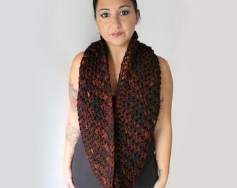 Burnt Brown Pure Merino Infinity Scarf,  Winter Fashion Accessories
