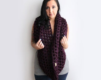 Infinity Scarf, Eggplant Purple Sparkle Infinity Scarf, Oversized Chunky Cowl, Snood in Deep Burgundy Red, Winter Accessories READY TO SHIP