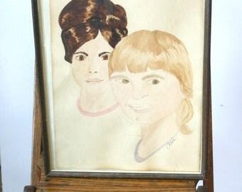 Vintage Portrait Watercolor Painting: Ghostly Teens
