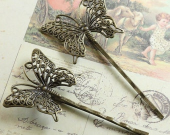 10pcs 36x25mm Antiqued Bronze Color Butterfly  Hair Clip On