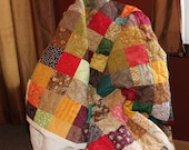 Custom Made ~ Earth Tones Patchwork QUEEN QUILT