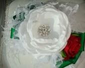 Christmas Headband, Holiday Headband, White Green and Red Headband, Baby Flower Headband, Infant Headband