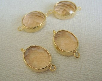 Jewelry Making Supplies, Gold Peach  Pendant, Light Pink Glass Stone connector,  Gemstone Bead Pendant with two loops, 2 pc