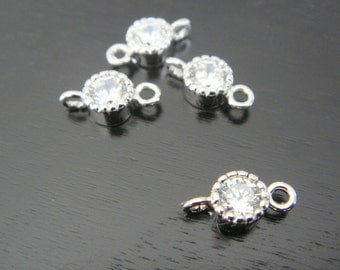 Jewelry Supplies Small Silver Cubic Zirconia Crystal Connector, Tiny Crystal Connector, 2 pc, PF6305