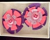 Purple Felt Flower Hair Pins