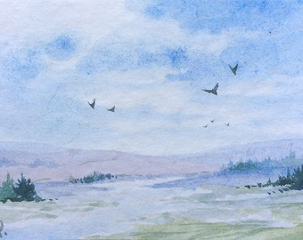 Original watercolor ACEO painting - Chilling in the prairie