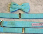 Ring Bearer attire - Turquoise Crosshatch Boy's Bow Tie and matching suspenders - Easter outfit