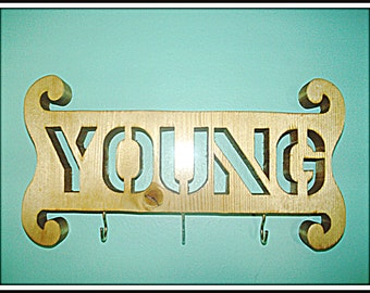 Made to order wall sign, name plaque with hooks wall decor