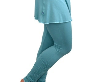 Medium Turquoise Yoga Leggings with Mini Skirt Shirred Ankle-Length Ruched Long Tights