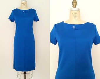 Star and Garter Dress / Vintage 1960s Wiggle Dress / Teal Blue / Medium