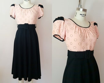 1940s Dress // FULL OF MOXIE Dress // Vintage 40s Pink and Black Dress // xs