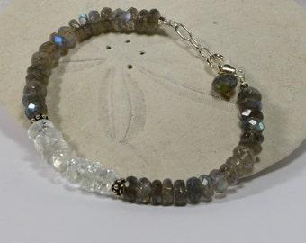 Gemstone Bracelet Labradorite Sterling Silver Bangle Bracelet Birthstone Jewelry