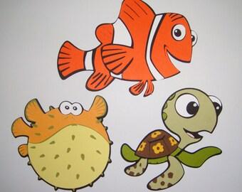 Finding Nemo Marlin Bloat and Squirt Paper Die Cut Scrapbook Embellishment