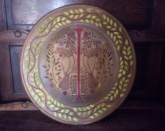 Vintage French Falcon Crest Symbolic Large Wood Plate circa 1950-60's / English Shop